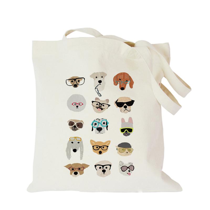2019 Pet dog series canvas bag customized eco custom tote bag custom made shopping bags with logo Dachshund Shepherd Dog Poodle (8)