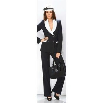 White Lapel Black Suit Women Business Suit 2 Piece Pantsuits Ladies Office Uniform Female Trouser Suits for Weddings Custom Made