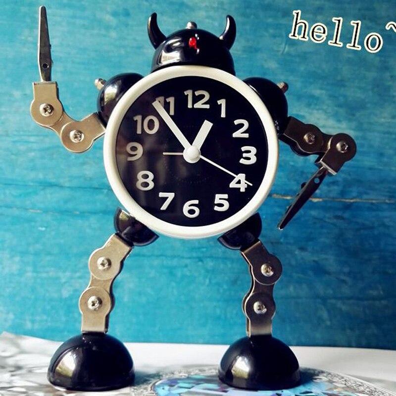 M.Sparkling Creative Design Robot Alarm Clock Cute Children Bedroom Decor Alarm Clock Quartz Table Waking up Alarm Clocks