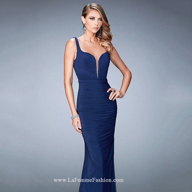 Sweetheart Spaghetti Straps Navy Blue Deep Red White Mermaid Evening  Dresses Open Back Sweep Train Pleats Draped Long Prom c1c087318ed9