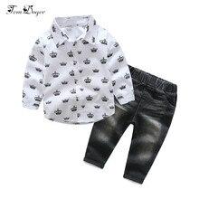 Tem doger/комплекты одежды для мальчиков весенне-осенняя официальная одежда для маленьких мальчиков Детский Повседневный костюм для мальчиков рубашка с короной+ джинсы комплект детской одежды из 2 предметов