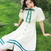 Fresh Preppy Style Bow Cute Dress Art Vintage Mid length Peter Pan Collar A line Princess Dress