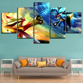 Canvas Art Printed Painting Wall Decor Elf Fight Poster 5 Panel Animation Pokemon Modular Picture For Home Decoration Kids Room 1