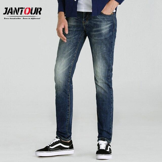 91d525376 € 18.86 56% de DESCUENTO|Jantour 2018 de alta calidad de la marca de la  ropa de los pantalones vaqueros azules de los hombres de algodón Delgado ...