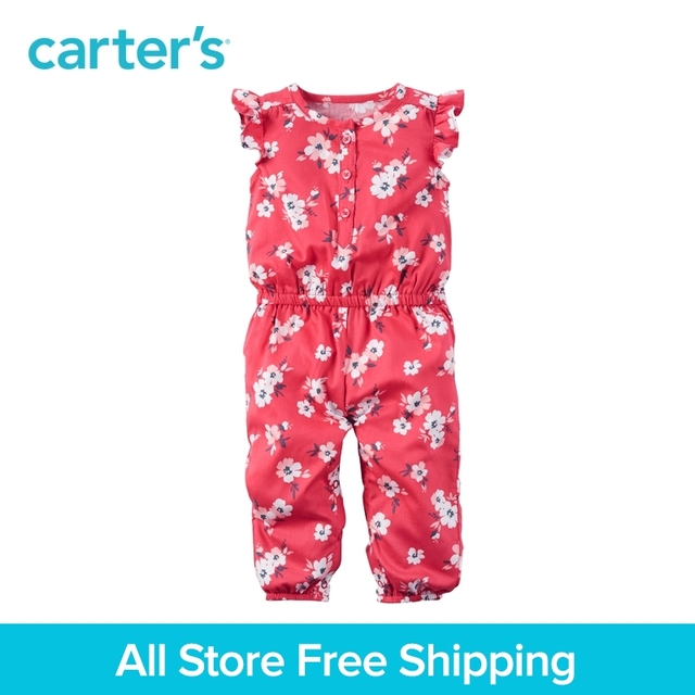 af4957fad8055 Carter's 1pcs baby children kids Floral Flutter-Sleeve Jumpsuit  118G924,sold by Carter's China official store