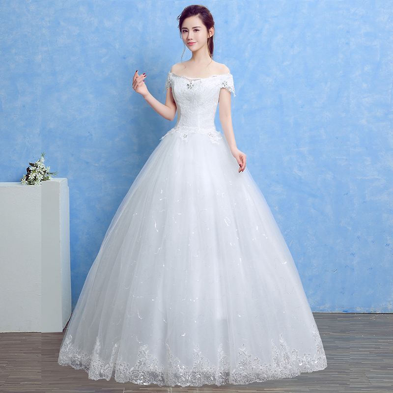 LAMYA 2018 Cheap Lace Boat Neck Wedding Dress Princess Plus Size ...