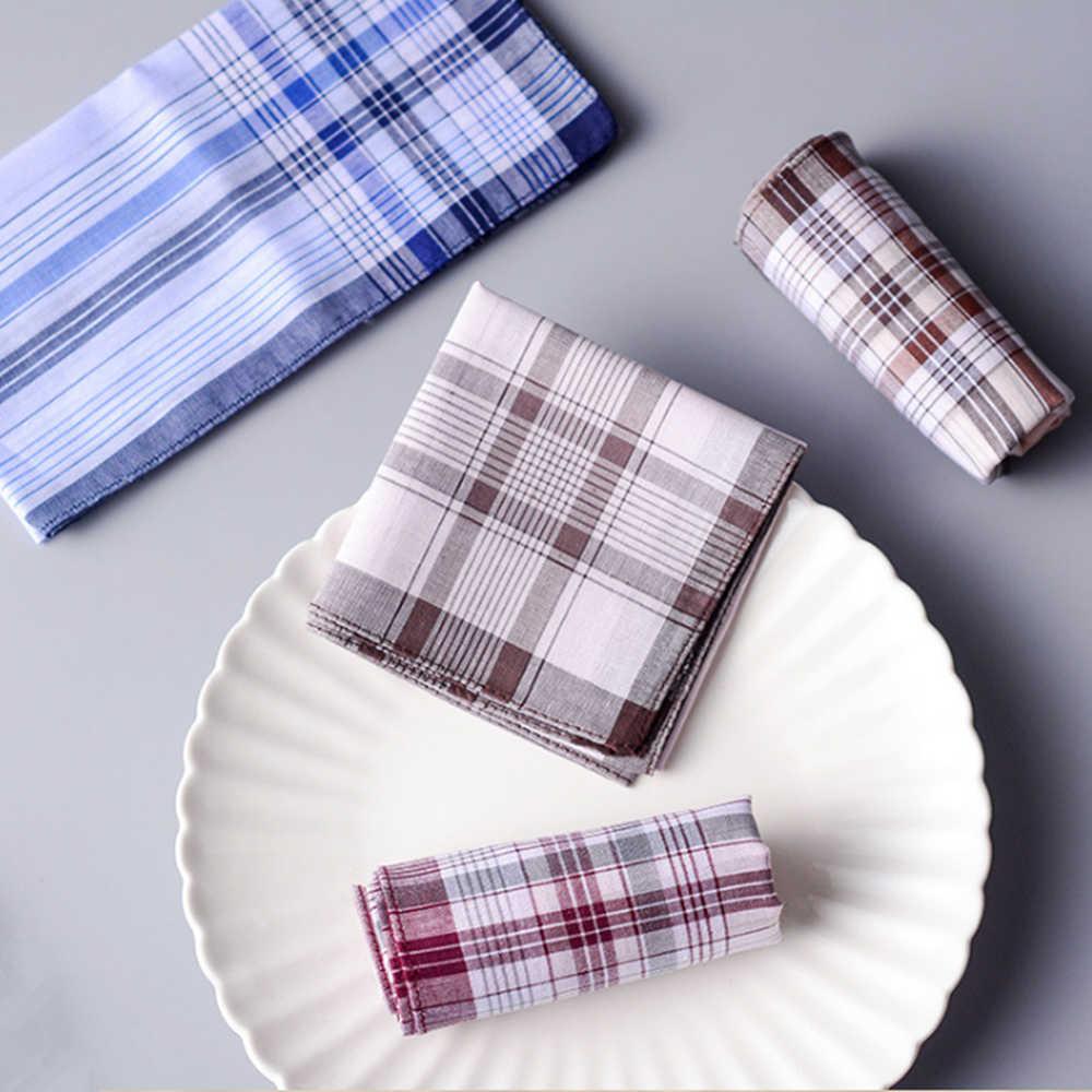 10 шт./лот shseja классический Винтаж плед носовой платок в полоску Hanky Для мужчин карманные квадраты 100% хлопок Бизнес Повседневное полотенце для сундуков