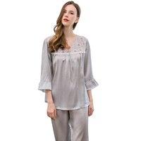 Women 100% Silk Pajamas Sets Sleepwear Long Sleeve 2 Piece Sets Silk Pajama Pijama Female Sexy Home Suit Pajamas Set