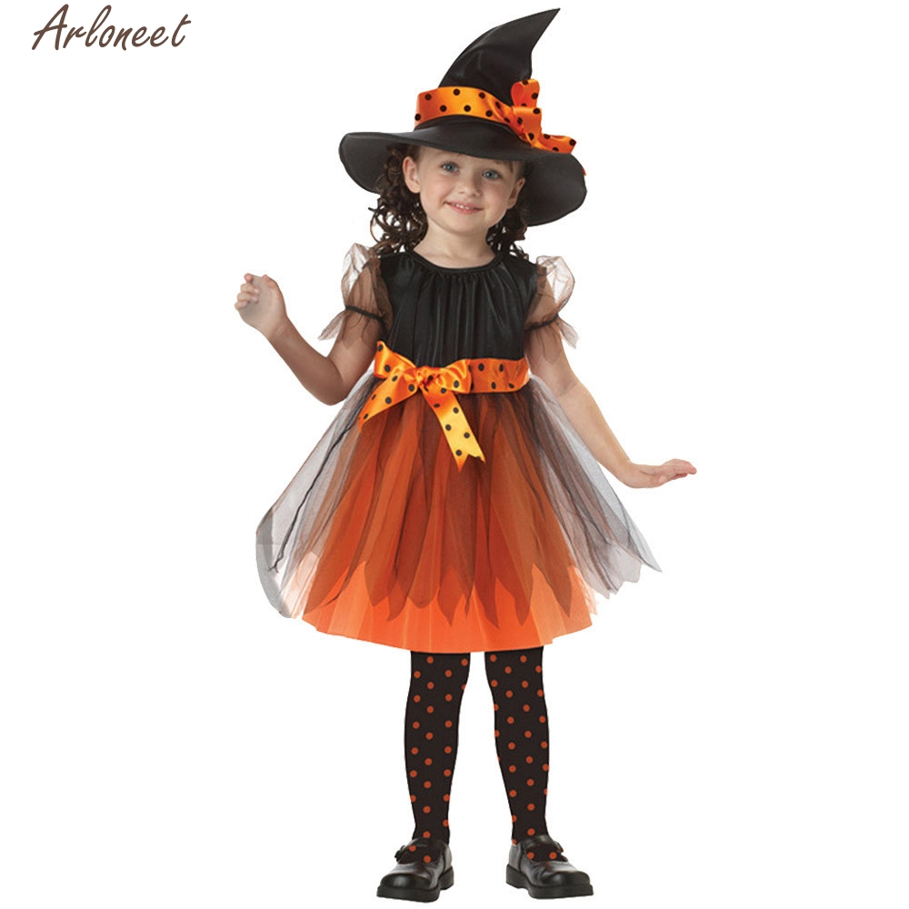 2017 hot sale Toddler Kids Baby Girls Halloween Clothes Costume Dress Party Dresses+Hat Outfit doct1