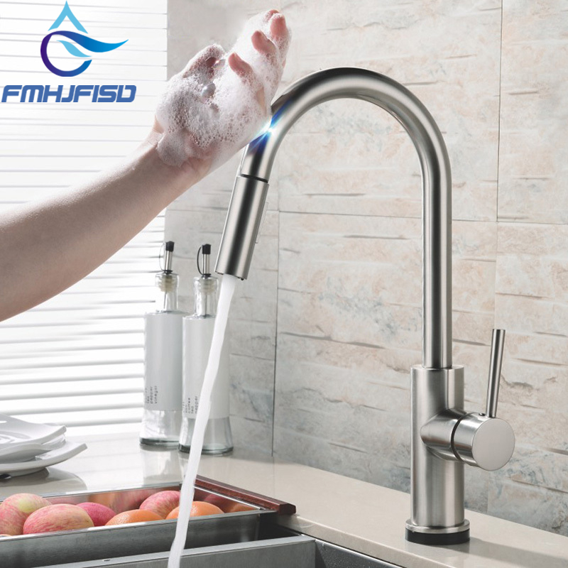 Us 60 0 40 Off Automatic Sensor Faucets Touch Inductive Kitchen Faucet Stainless Steel Water Saving Inductive Water Tap Mixer Battery Power In