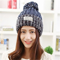 2016 women fashion autumn winter thickening woolen knitted warm hats lady's colour mixture revers applique caps beanies