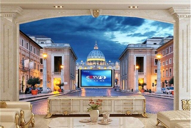 Große 3d wandbilder, Rom Italien Tempel Häuser Nacht ...