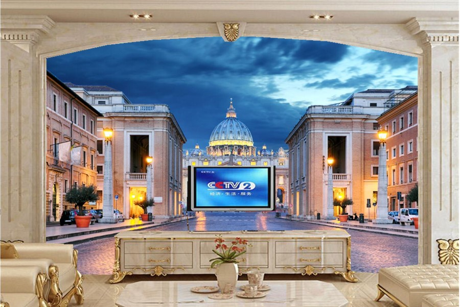 Large 3d murals,Rome Italy Temples Houses Night Street lights Cities wallpaper,living room sofa tv wall  bedroom papel DE parede