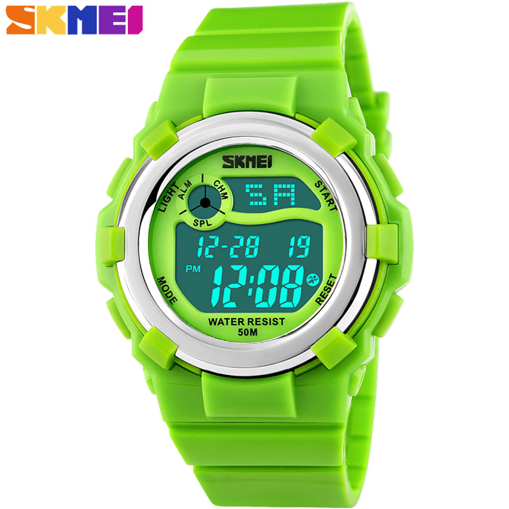 SKMEI 2016 New china Brand children kids fashion Sport Watches Digital LED 50M Waterproof Wristwatches pink green bracelet band
