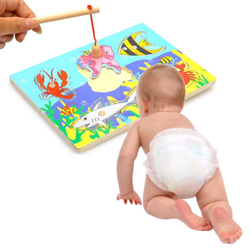 Children Educational Fishing Puzzles Baby Toys 3D Jigsaw Funny Game For Kids Gifts New Wooden Magnetic