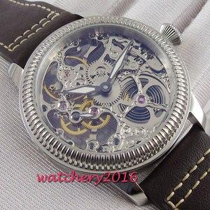 Image 5 - Luxus 44mm PARNIS Hohl herren uhr leucht hände 17 juwelen mechanische 6497 skeleton handaufzug bewegung männer uhr
