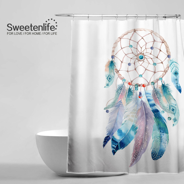 Sweetenlife Indian Style Shower Curtains Light Color Bathroom Curtain Eco Friendly Waterproof Drop Shipping