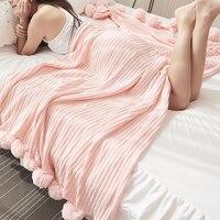 LOVINSUNSHINE Home Sofa Bed Super Soft Cotton Warm Cute Pink Blanket With Ball Decorative Throw Gift AB#205