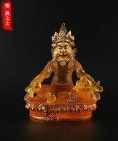 GOOD figure of Buddha 2019 HOME efficacious Talisman House Protection # 14.5CM Tibetan Yellow Jambhala Gilding Buddha statue