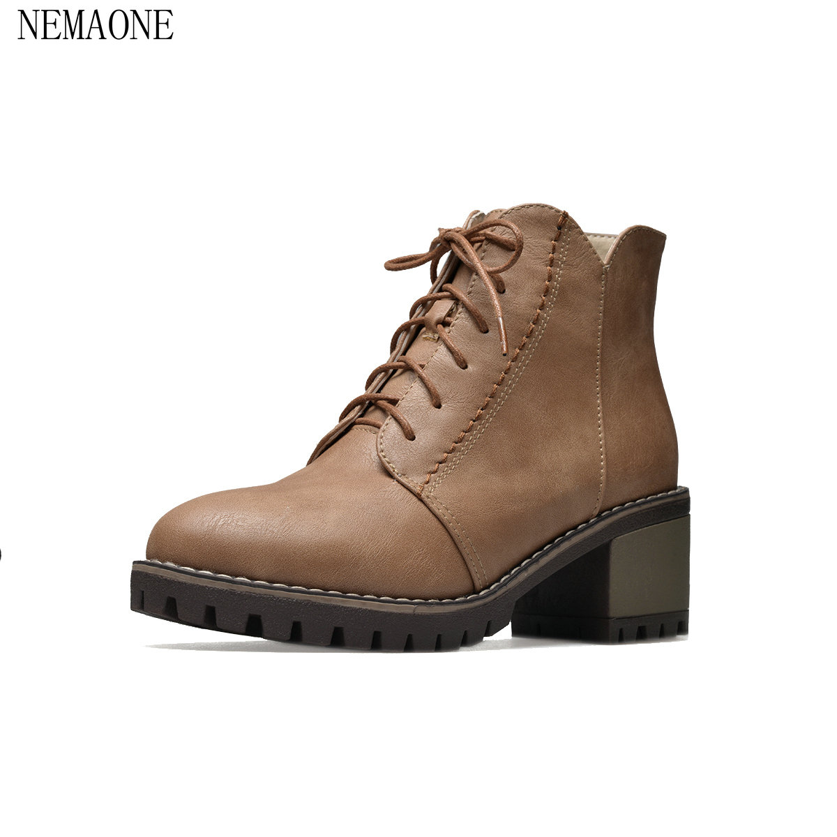 NEMAONE Shoes Woman pu Leather Platform Square High Heel Lace Up Ankle Boots Fashion Dress Winter Boots Black