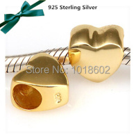 Free Shipping 925 Sterling Silver 18k Gold Heart Charms beads Fits for European Pandora Bracelet and Necklace vk1022-2