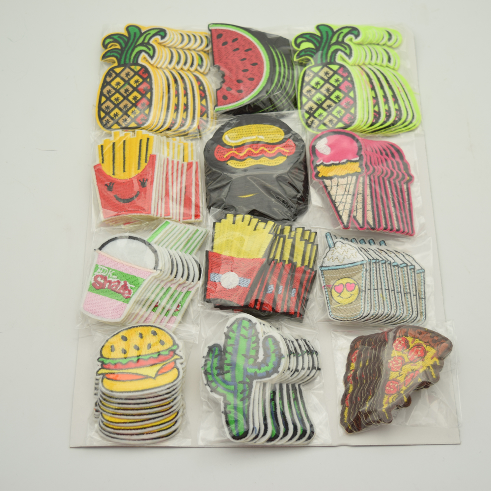 120Pcs Embroidery Mix Iron On Patch Donuts Fruit Badge Bag Clothes Fabric Applique