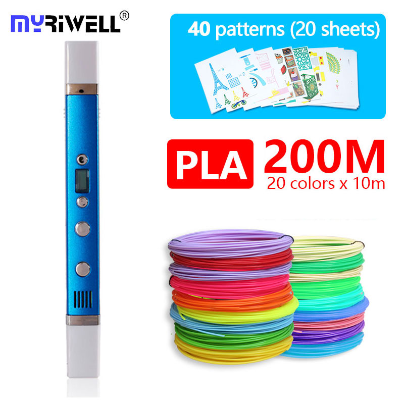 myriwell 3d pen RP100C ABS PLA PCL 3 mode with PLA Filament and free pattern the
