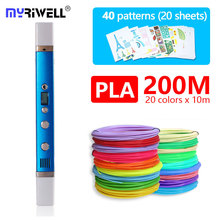 myriwell 3d pen RP100C,ABS / PLA / PCL 3 mode,with PLA Filament and free pattern the best gift of kids children birthday present pcl 741 with free dhl