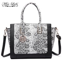 Miss Lulu Women Designer Handbags PU Leather Snake Skin Print Shoulder Bags Bat Style Crossbody Messenge Satchel Tote YD6626