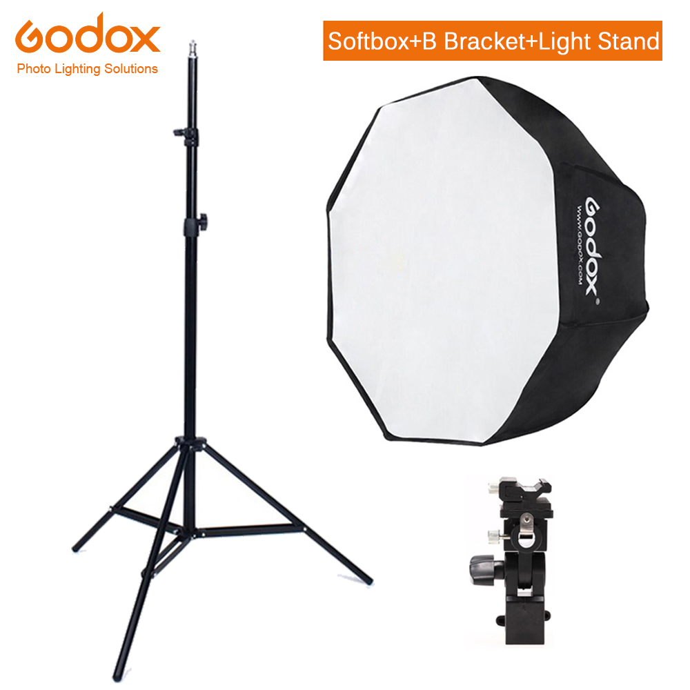 Godox 80cm Octagon Umbrella Softbox Light Stand Umbrella Hot Shoe Bracket Kit For Strobe Studio Flash Speedlight Photography