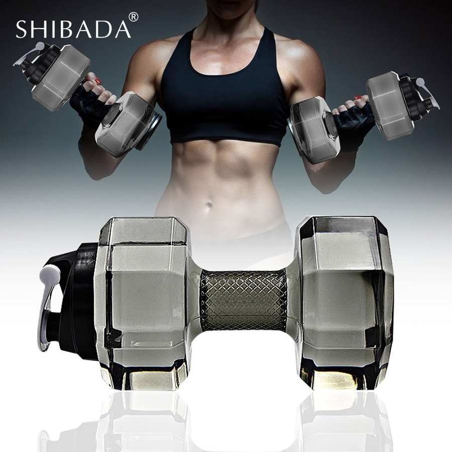 SHIBADA 2.2L Dumbbell Plastic Large Capacity Fitness Equipment Water Bottle Gym Exercise ...