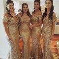 Champagne Bridesmaid Dresses Sleeves Mermaid Sequins Cheap Prom Gowns robe demoiselle d'honneur Bridesmaid Dress Floor Length