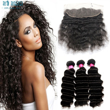 Brazilian Deep Wave 3pc With Lace Frontal Closure 13*4 Deep Wave Closure With 3 Bundles Deep Wave Frontal From Ear To Ear hair