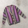 2016 new Fashion Spring  Womens Boho Ethnic Style Woven Knit Coat Stripes Top Cardigan Sweater Oversized Free Shipping