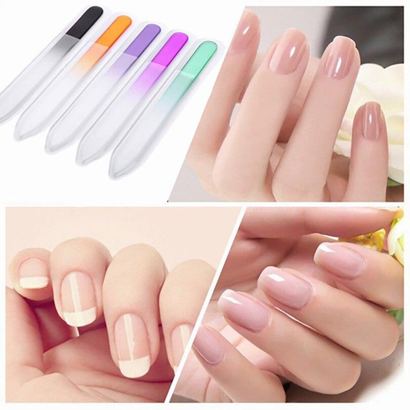 Professional 5Pcs set Glass Nail Files Polishing Tools Spray Color Glass Files Manicure Tool