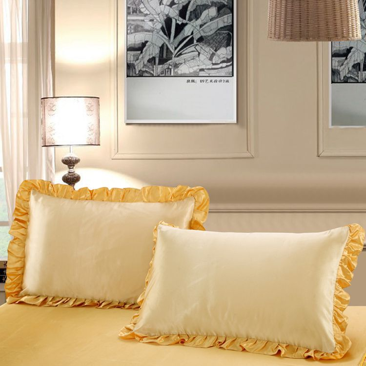 Luxury Gold Lace Silk Pillowcase 100 Pure Silk Satin