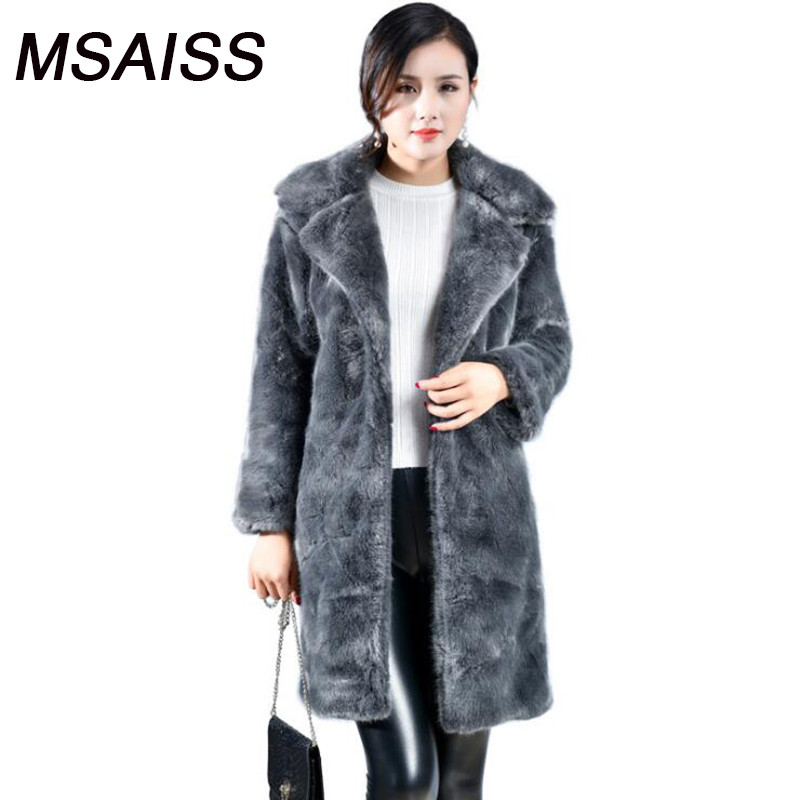 MSAISS XS-XL Women Long Winter Fox Faux Fur Coat plush Thickened Women fur jacker artificial Mink ladys Coat