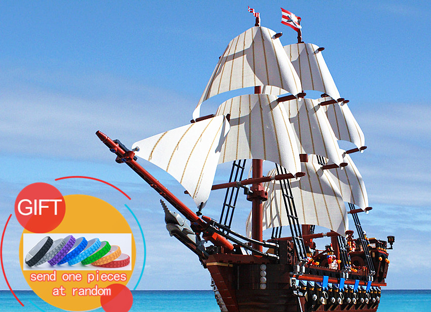 22001 1717pcs Pirate Ship Imperial war ships Model Kits Building  Block Bricks Compatible 10210 Toys lepin lepin 16002 22001 16042 pirate ship metal beard s sea cow model building kits blocks bricks toys compatible with 70810