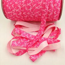 Breast Cancer FOE Elastic Ribbon Pink Fold Over 100yards/lot