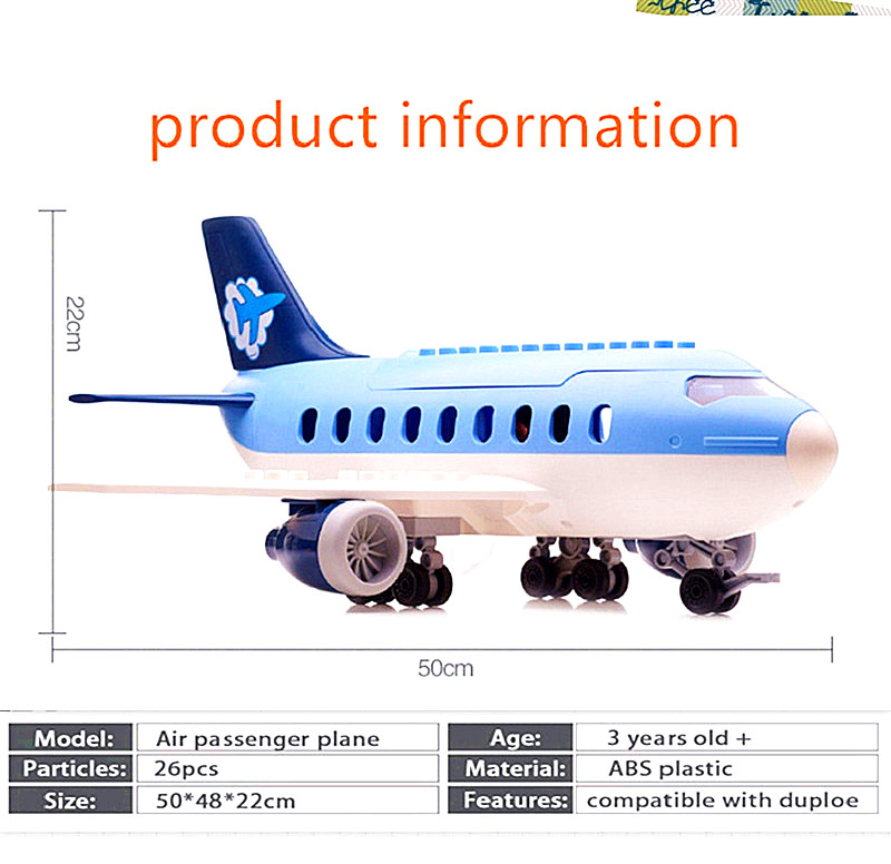New Air passenger plane Toy Large particle Stacking Blocks Kids toys for Children bricks Compatible airbus Duplo Birthday gifts in Stacking Blocks from Toys Hobbies