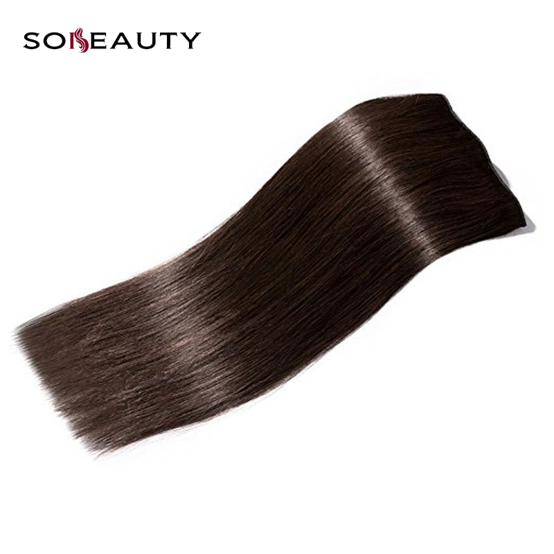 Sobeauty   Clip In Human Hair Extensions Dark Brown Silky Straight Hair Machine Made Remy Brazilian Hair Shedding Free