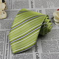 New Light Green Striped Men's Necktie Wedding Groom Party Neck Tie G334