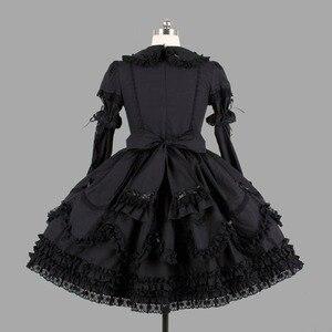 Image 2 - Черные хлопковые Классические платья Лолиты в готическом стиле, винтажная кружевная одежда Лолиты с оборками для девочек