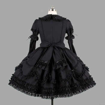 Black Cotton Classic Gothic Style Lolita Dresses Vintage Lace Ruffles Lolita Clothing For Girl