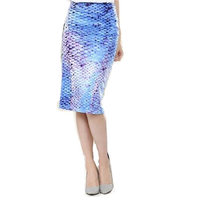 f2e7b1d0c7 Womens Summer Plus Size Sexy Skirts Blue Mermaid Floral Print High Waist  Pencil Skirt Slim Bodycon Elastic Hip Maxi Skirts