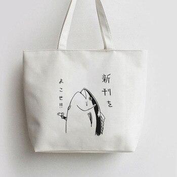 Anime Japonês Peixe Anime Sacolas Da Lona Desenho Animado Saco De