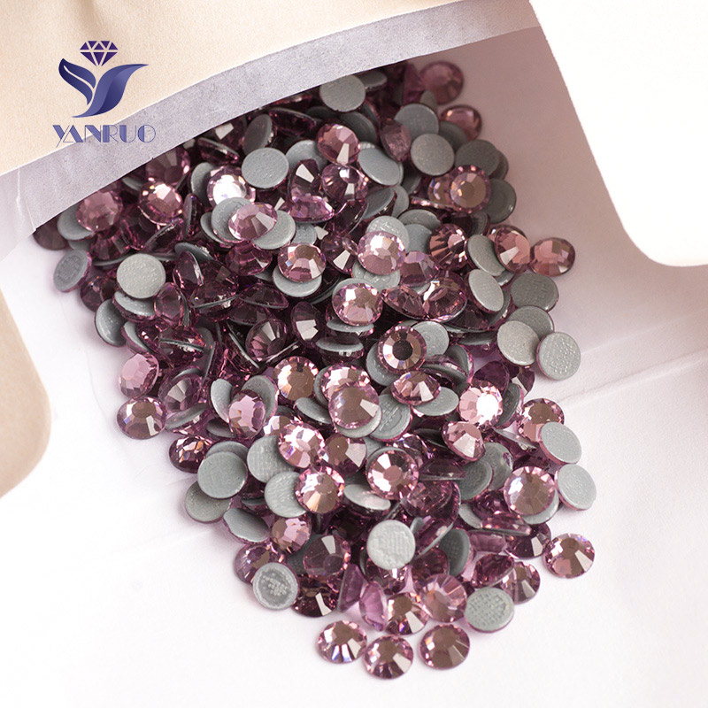 YANRUO SS16-SS30 (3.8-6.5mm) Light Amethyst Flat Back Iron On Dress Clothes Flatback Stones Glass Crystal Strass Applique Shoes