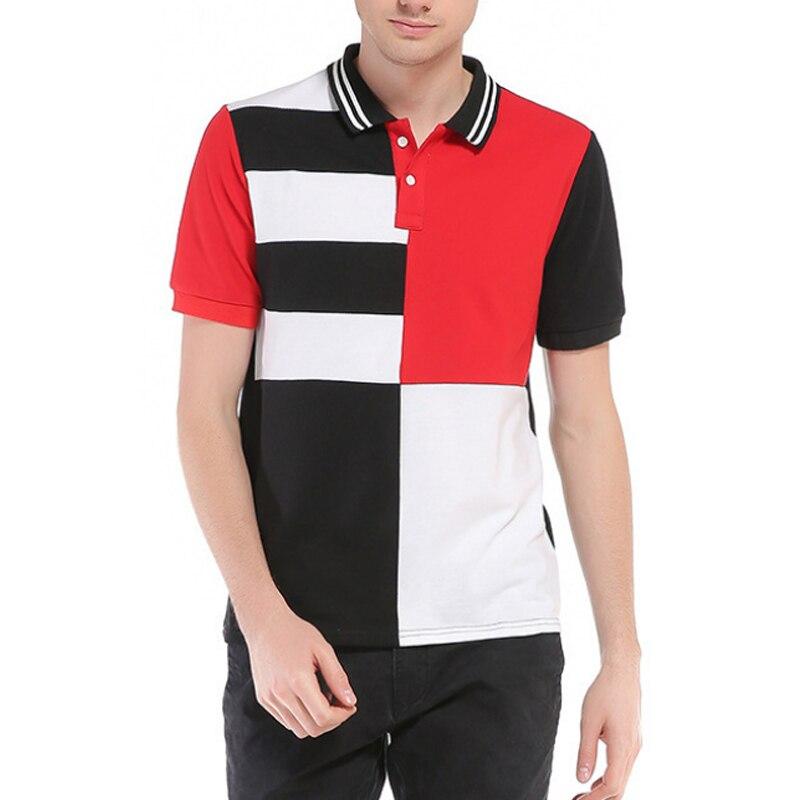 ჱReino Unido moda hombres Polo alta calidad rayas patchwork casual ...