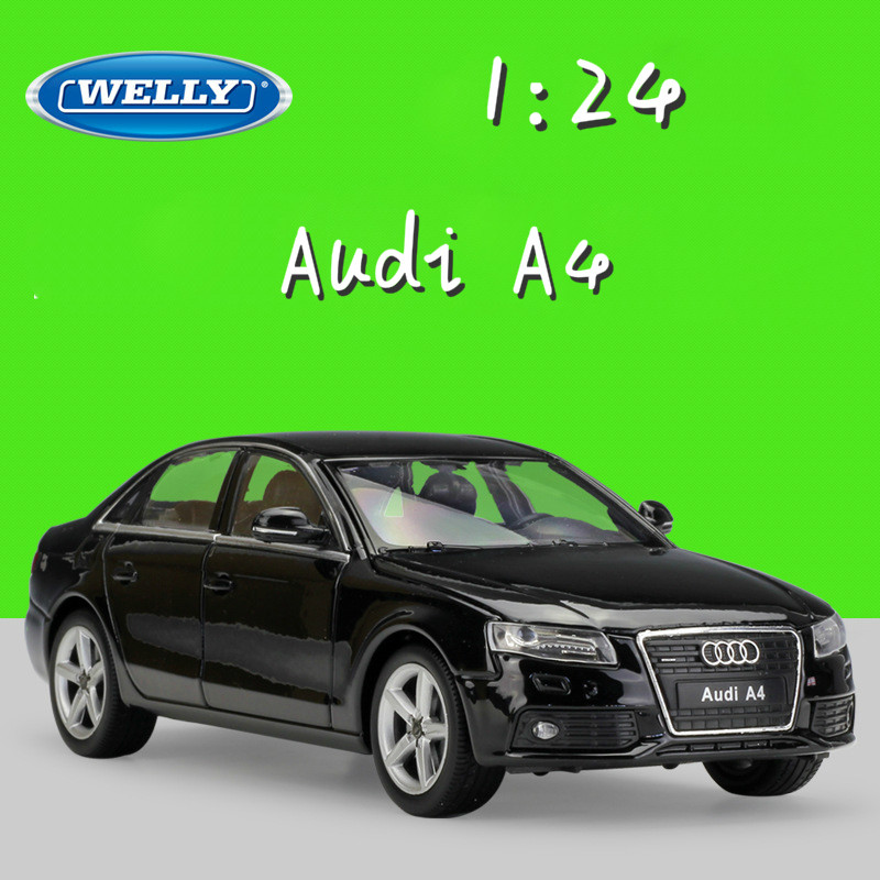 WELLY 1:24 Scale Simulator Metal Model Car Audi A4 Diecast Cars Toy Car Classic Alloy Cars Toys For Children Gifts Collection