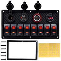 DC 12 24V Boat Marine Rocker Switch Panel LED Dual USB Socket Charger 1A&2.1A Voltmeter for Car RV Truck Camper GPS Mobiles